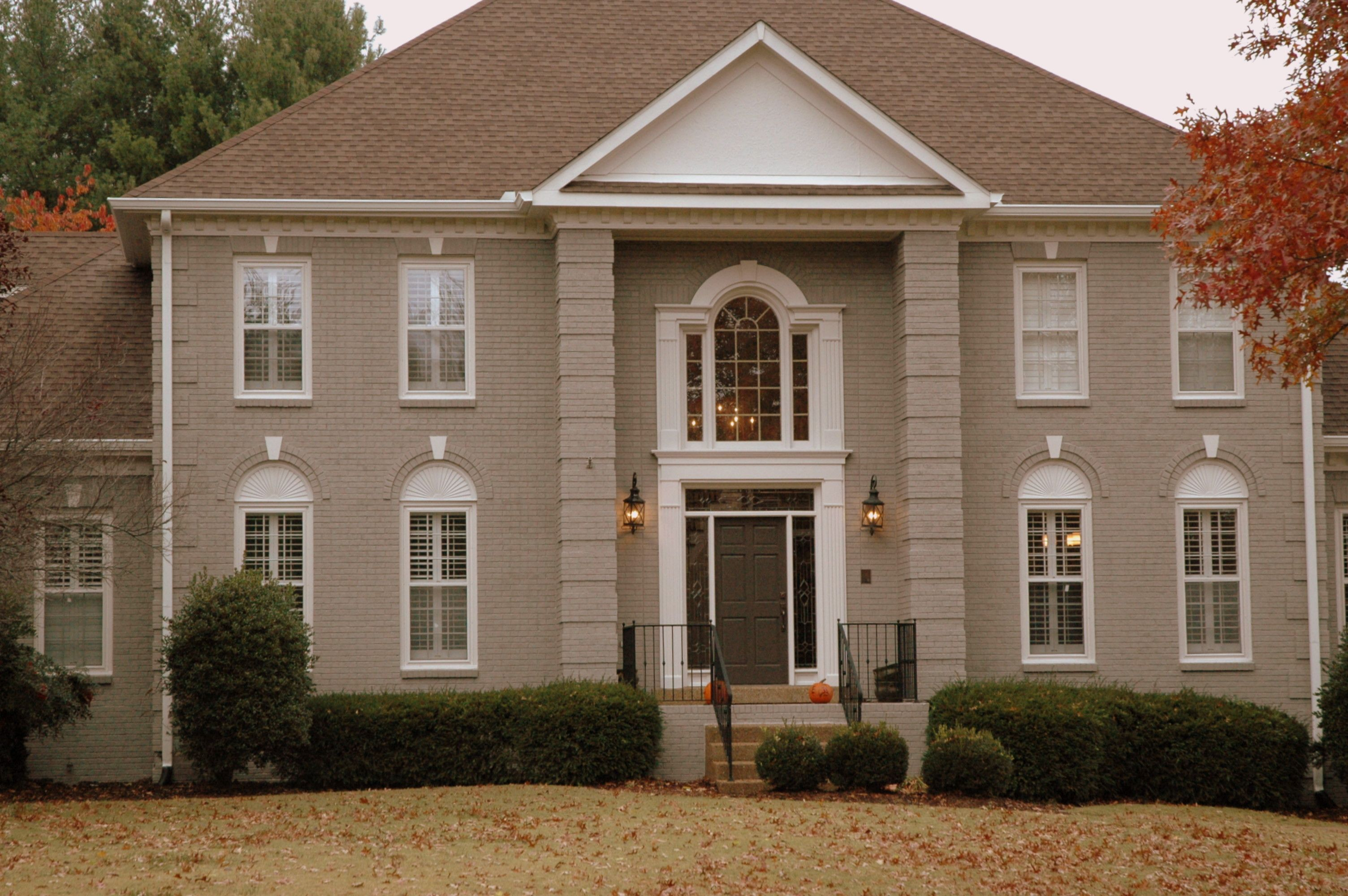 Peachy Painted Brick Facade Exterior Paint Color With Black Door Largest Home Design Picture Inspirations Pitcheantrous
