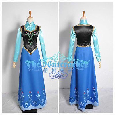 Disney New Movie Frozen Snow Queen ANNA Dress Cosplay For Adult/&Child costume