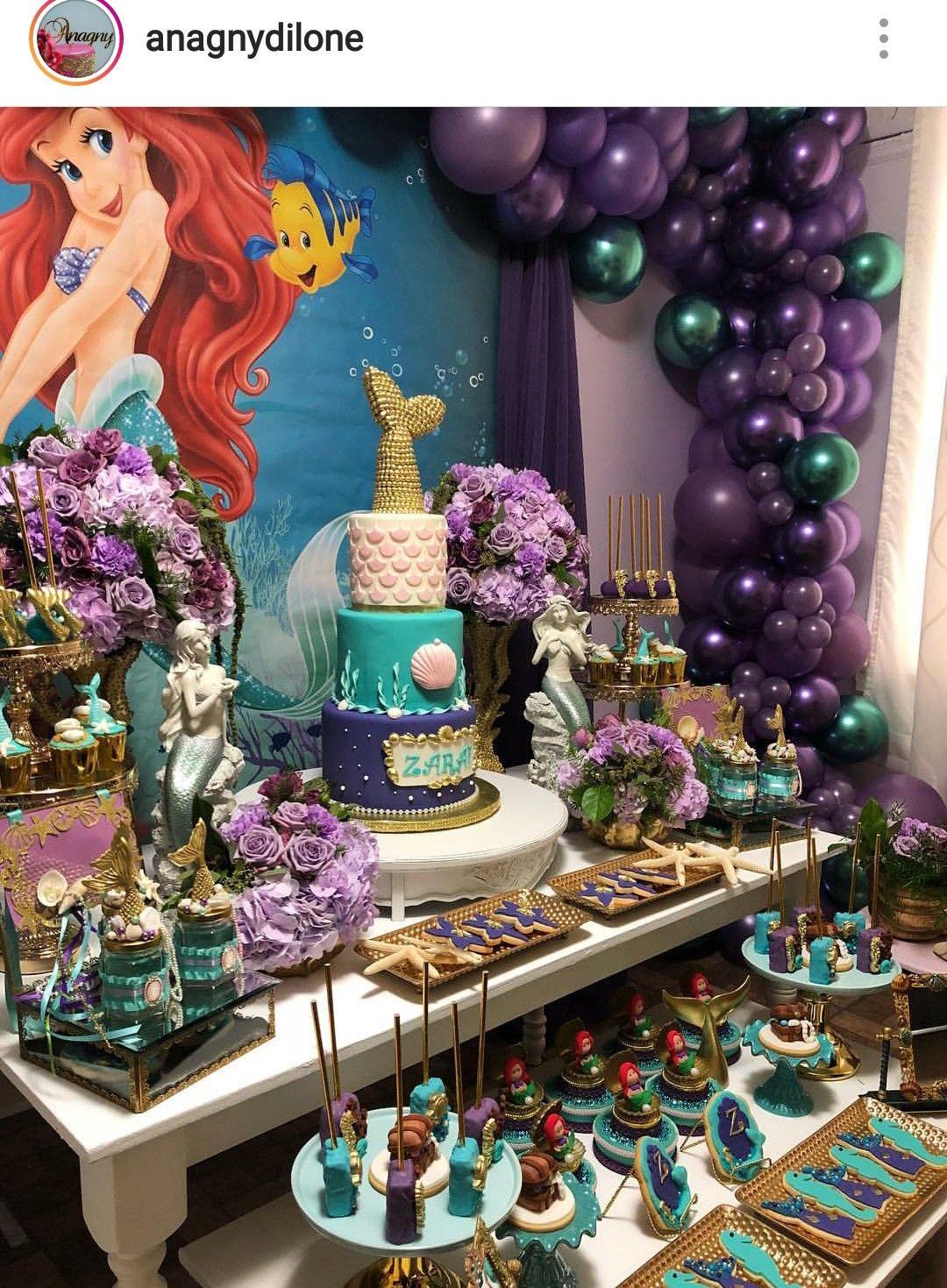 The Little Mermaid Theme Dessert Table And Decor Fiesta Tematica Sirenita Fiestas Tematicas Fiesta Cumpleanos