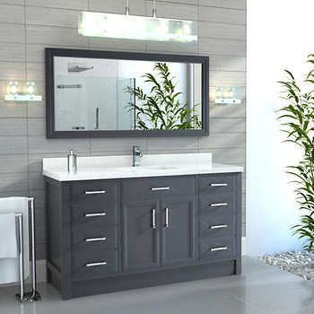 Calais 60 Quot Pepper Gray Single Sink Vanity By Studio Bathe