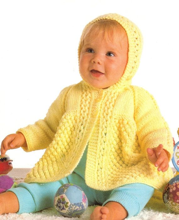 Baby Hooded Cardigan / Hooded Sweater in DK 8 ply yarn for sizes 18 ...