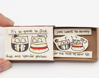 Funny Anniversary Card/ Owl Card /It's so great to find that one special person you can annoy/LV005
