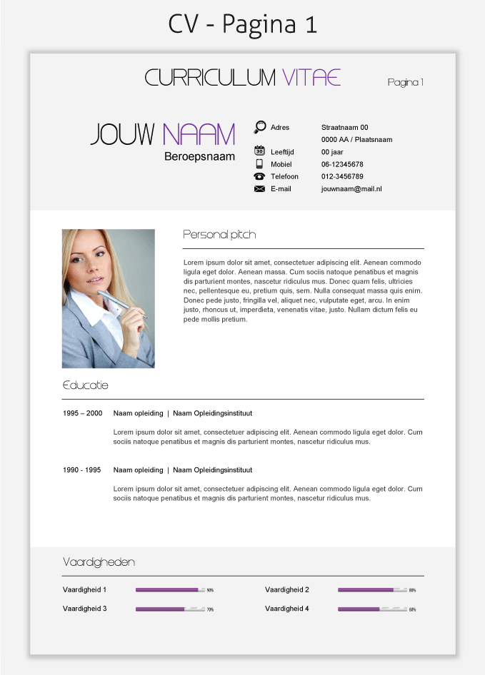 Cv Template  Om Te Downloaden  Cv Templates Downloaden