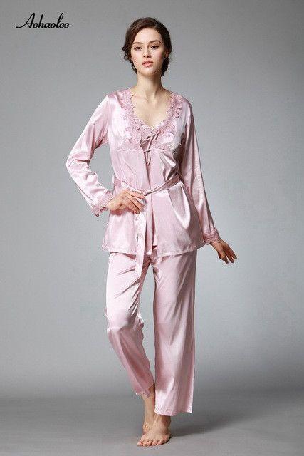 a569f5e115aa8 3 Pcs Pajama Sets Lace Sexy Women Robe Set Rayon Women Pajamas V-Neck  Nightgowns Silk Women s Pajama Sets
