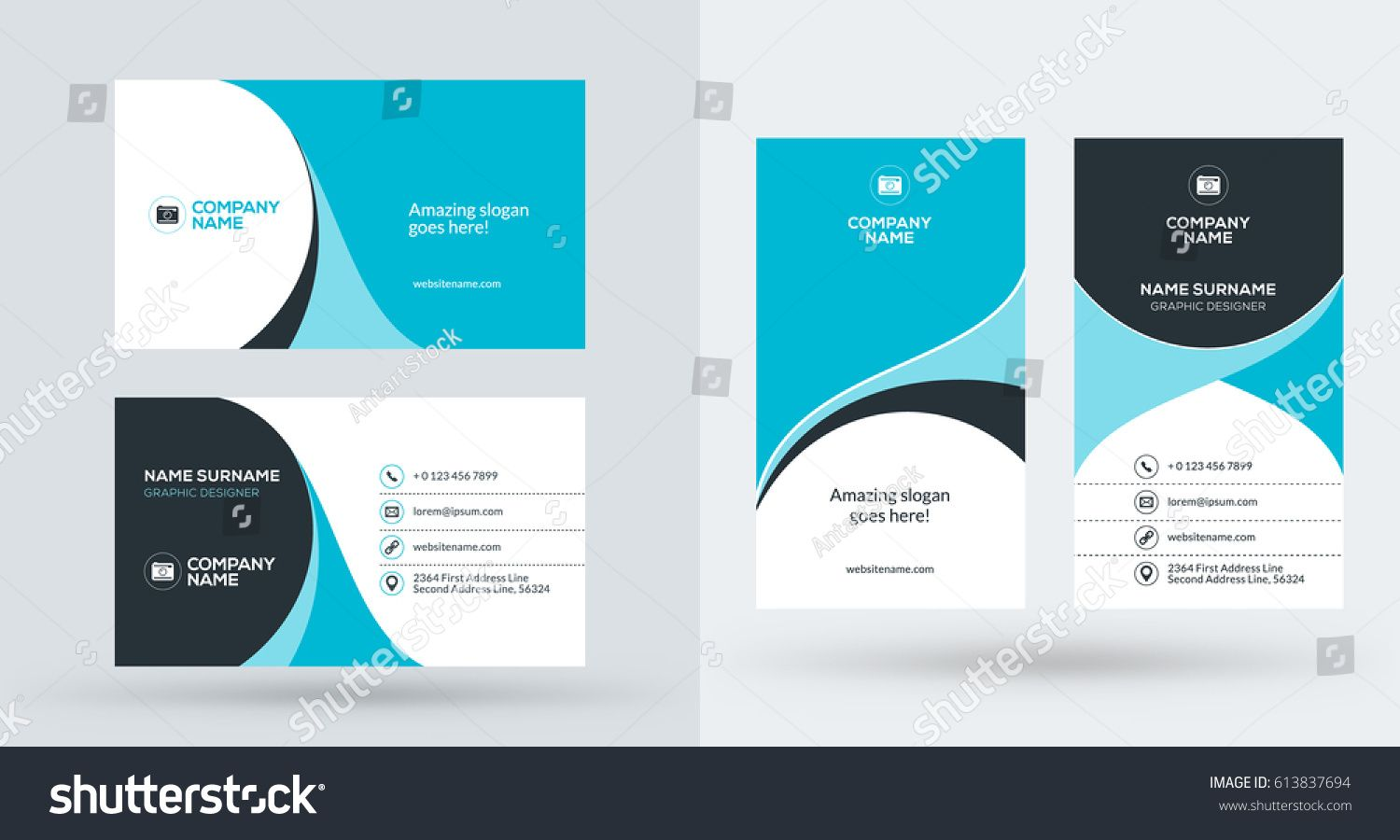Doublesided Creative Business Card Template Portrait Stock Inside Portrait Id Card T Business Cards Creative Templates Business Cards Creative Id Card Template