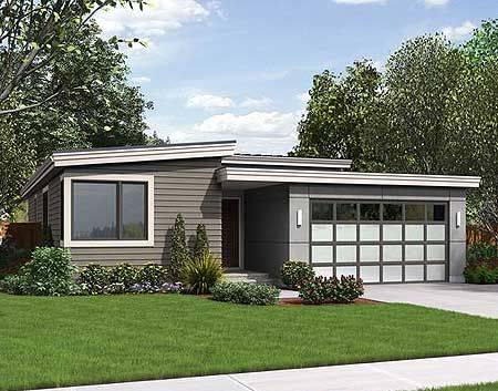 This one story contemporary home plan gives you 3 bedrooms for 2 bedroom house plans with attached garage