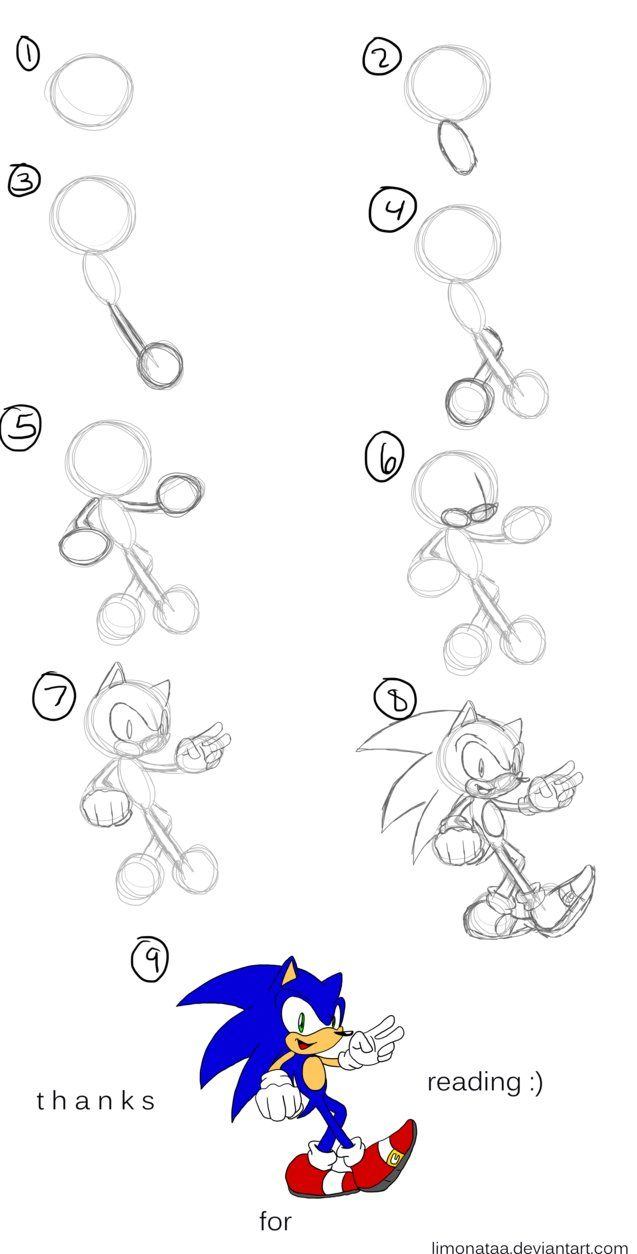 how to draw characters step by step sonic google search art