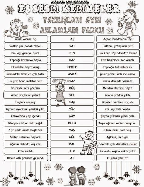 Eş Sesli Kelimeler Pano çalışması Derse Ait Turkish Lessons