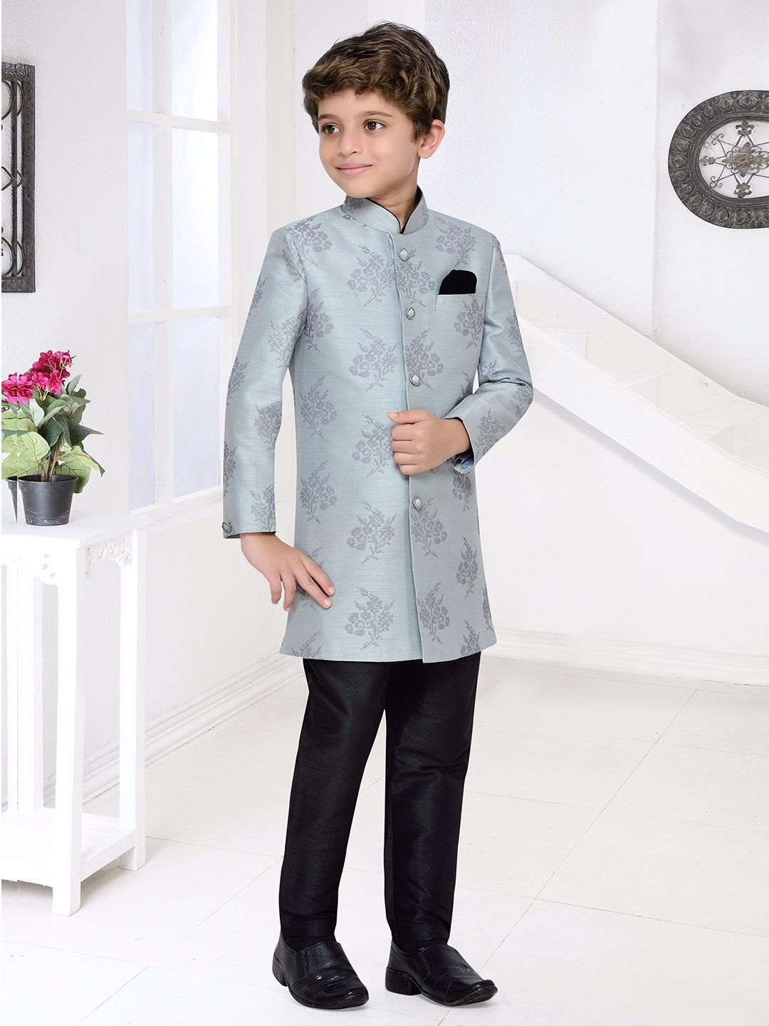 Grey Raw Silk Indo Western | Boys Indian Fashion Wear | Pinterest ...