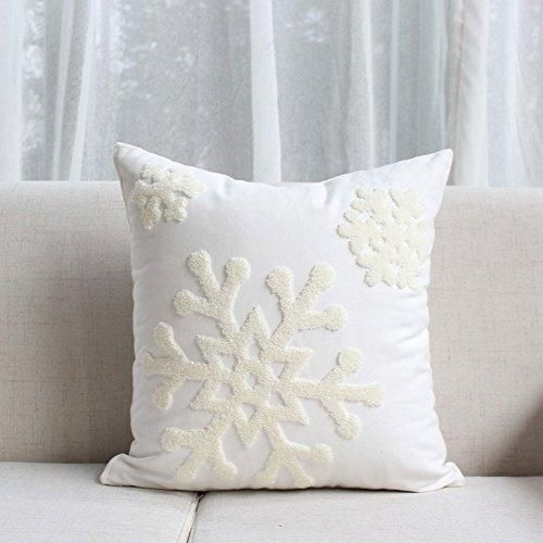 Elife 18x18 Soft Canvas Christmas Winter Snowflake Style Cotton Linen Embroidery Throw Pillows Covers w/ Invisible Zipper for Bed Sofa Cushion Pillowcases for Kids Bedding (1 Pair, White)