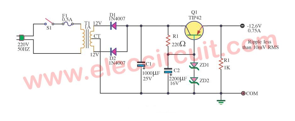 12 6v negative voltage regulator using pnp emitter follower power