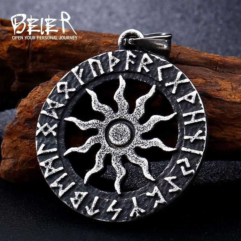 stainless Norse Vikings Pendant Necklace Slavic Amulet Pagan Solar