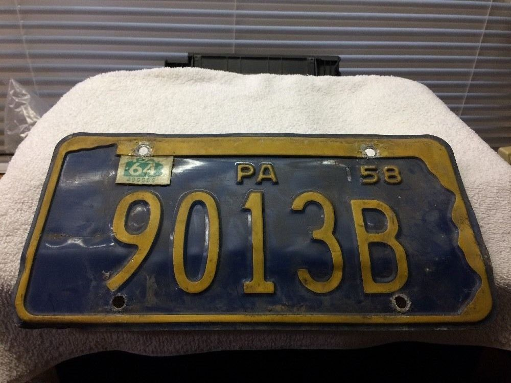 Vtg 1958 Pennsylvania License Plate Classic Car Parts For Art