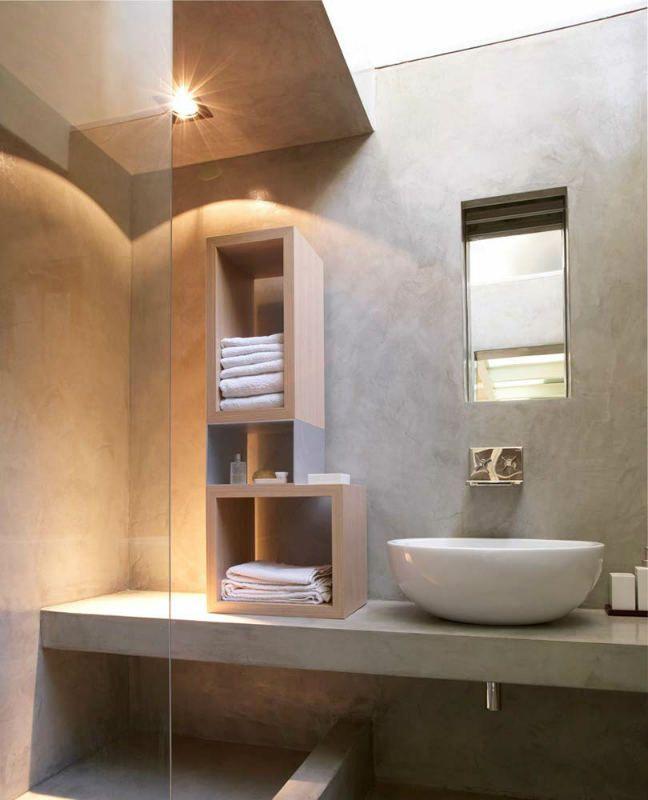 Accadi cemento resina 14 effetto kerlite bagno claudia for Bagno piccolo in resina