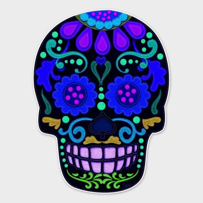 Blue Sugar Skull Faux Felt Look Large Sticker ,Beautiful Blue Sugar Skull Faux Felt Look Large St