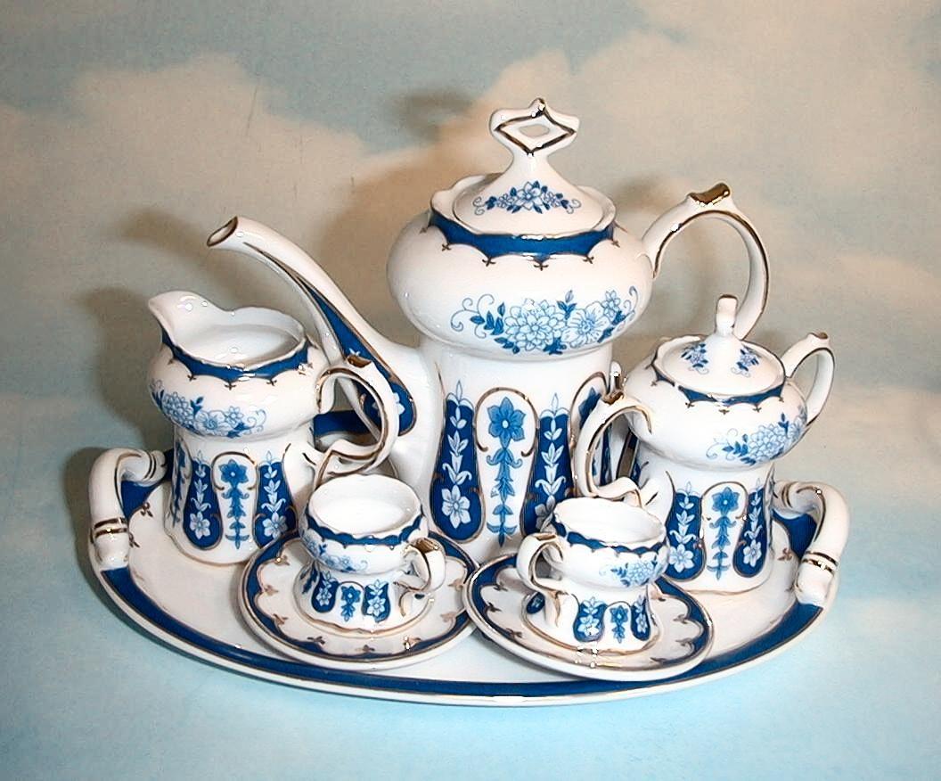 Blue Floral Miniature Tea Set #teasets
