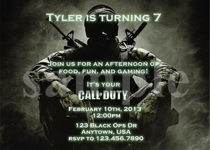 Call Of Duty Black Ops Birthday Invitation By Sweetnchicdesigns