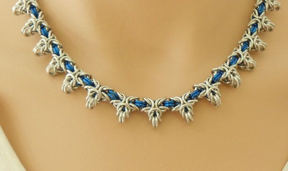 Silver and blue chain maille star necklace by SilverSerenade