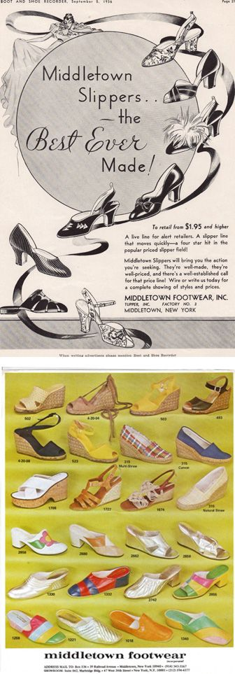 Advertisements from the #1930s and #1970s #vintageshoes #slippers #espadrilles