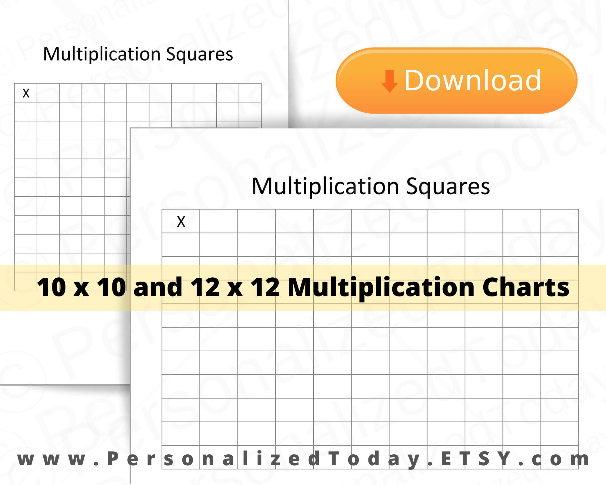Printable Blank Multiplication Times Table Squares 10 X 10