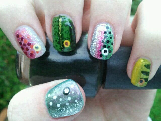 Nail Art by my daughter Cassidy Martin, before nail school. Fishing Lures -  my - Fish (trout) Nail Art Trout Fishing Pinterest Trout, Nails