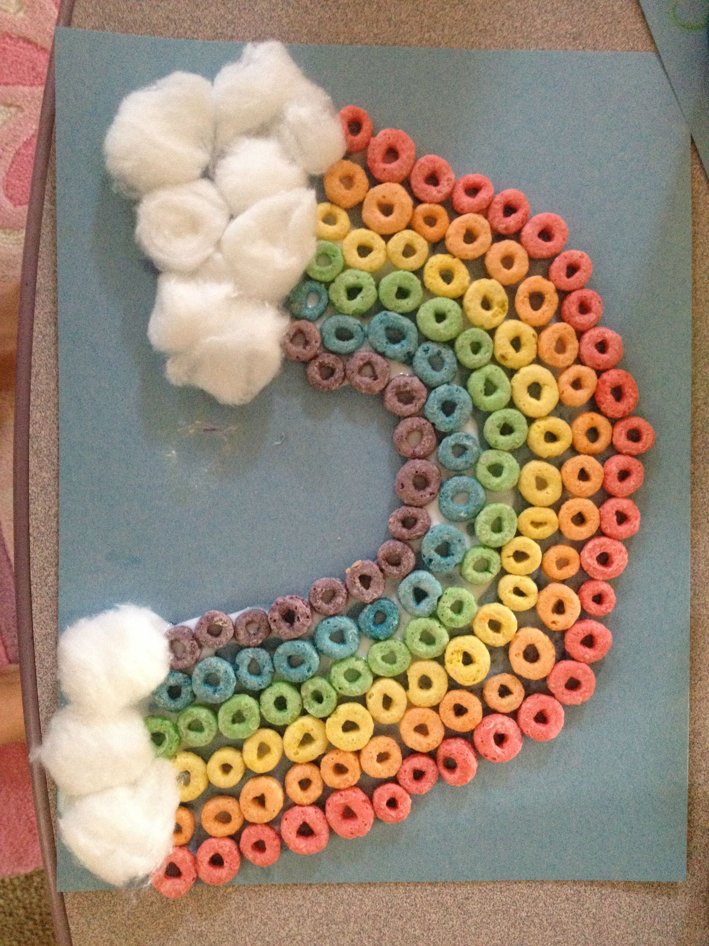 Rainbow Fruit Loop Craft Idea For Kids Table