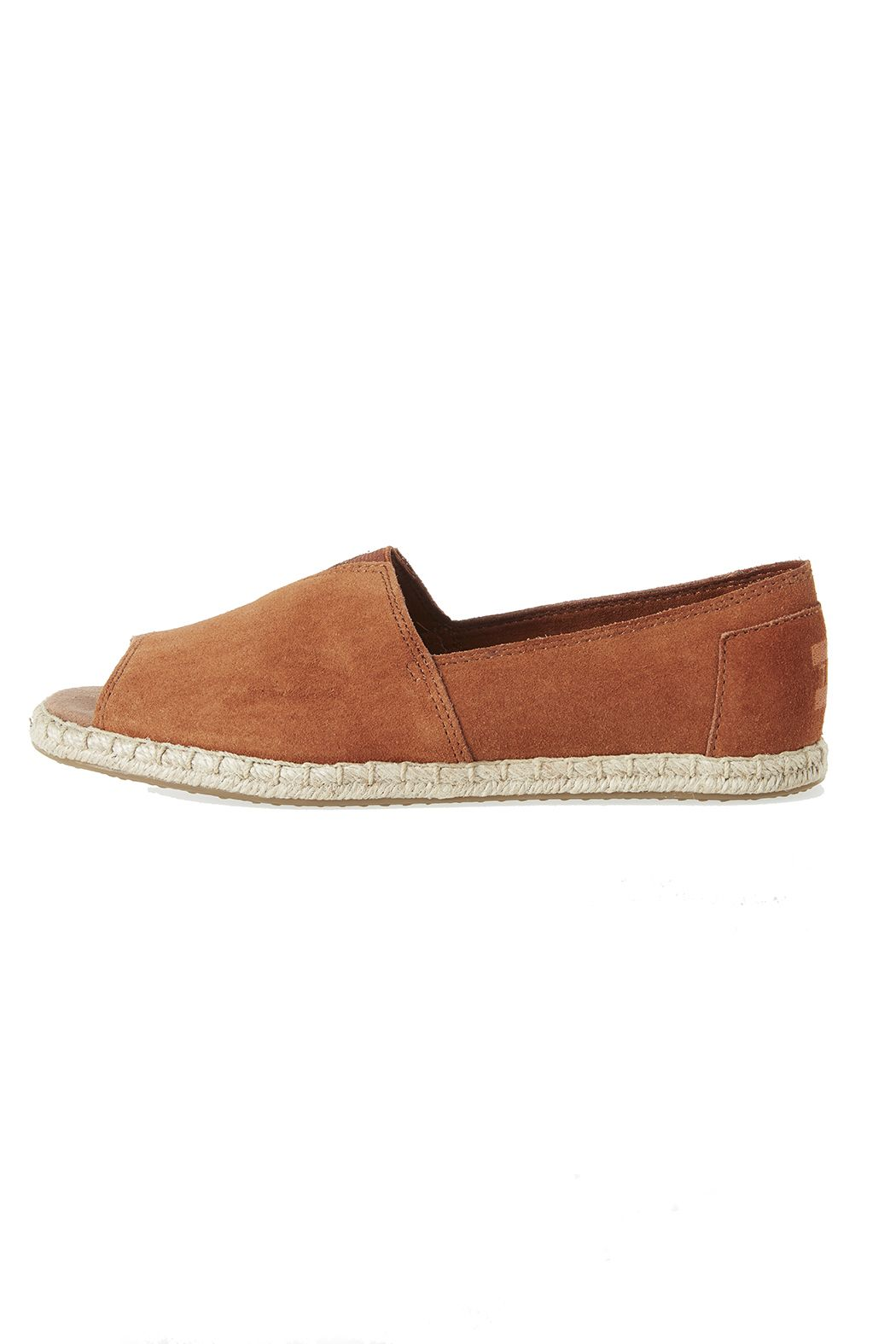 Featuring a sophisticated suede upper and a summery rope sole, our open-toe Alpargatas are perfect for warm days and nights out and about.   Alpargata Open Toe by TOMS. Shoes - Flats - Espadrilles Virginia