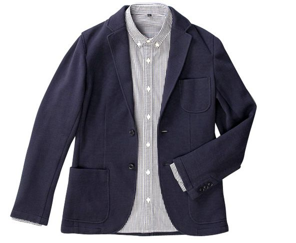 Cotton-poly knit blazer with jersey lining by Muji. This dressed-up  sweatshirt looks like perfect winter wear for balmy FL. 5c1ff07791b0f