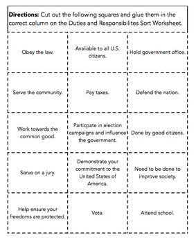 Duties And Responsibilities Of Citizens Sort  Worksheets