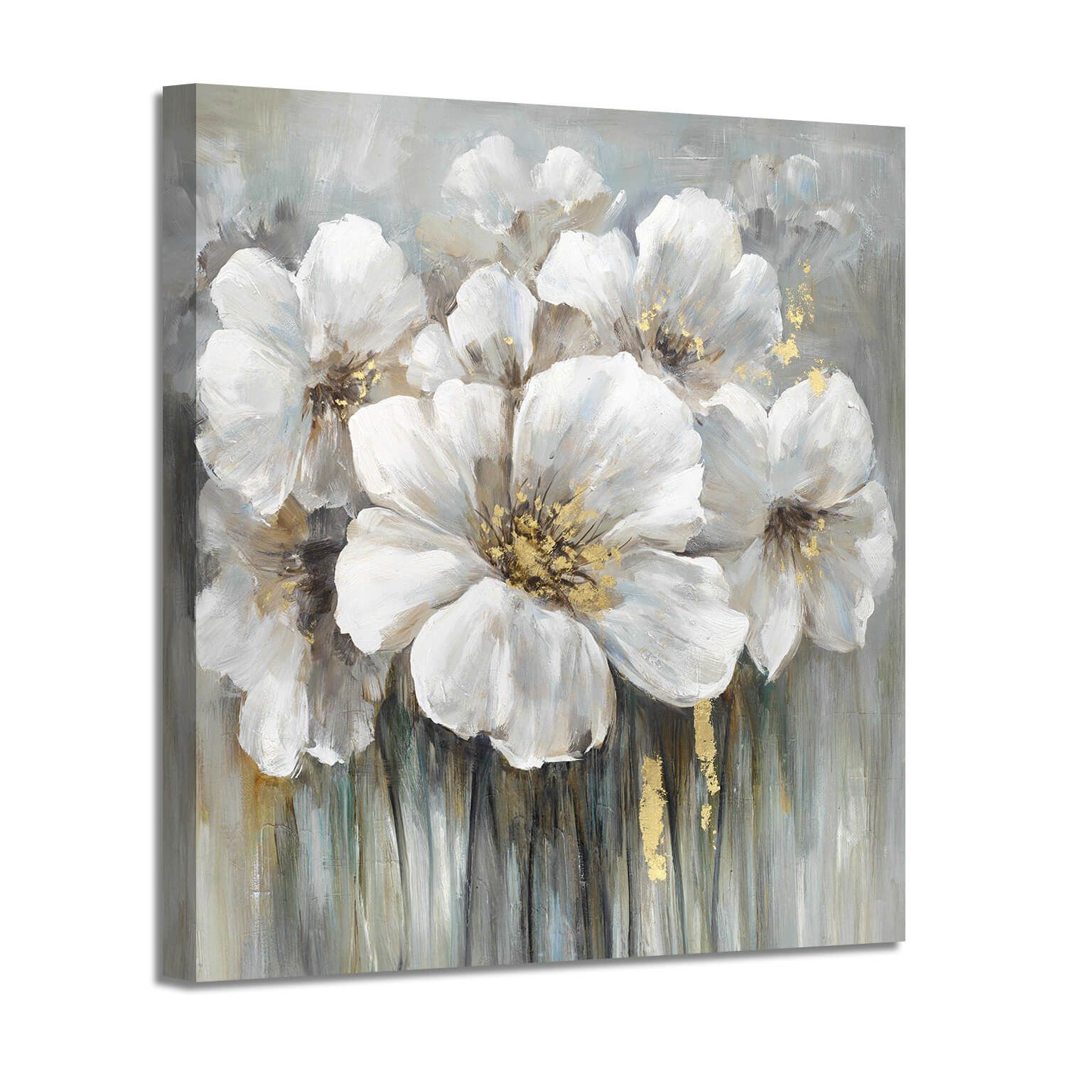 Abstract White Flower Wall Art Painting Picture On Canvas For Rooms Decor Flower Canvas Wall Art Flower Painting Canvas Flower Canvas