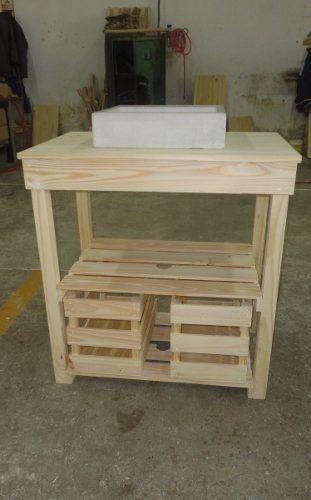 Vanitory en pino macizo tipo pallet sin bacha c cajones for Confeccionamos muebles de bano en palet