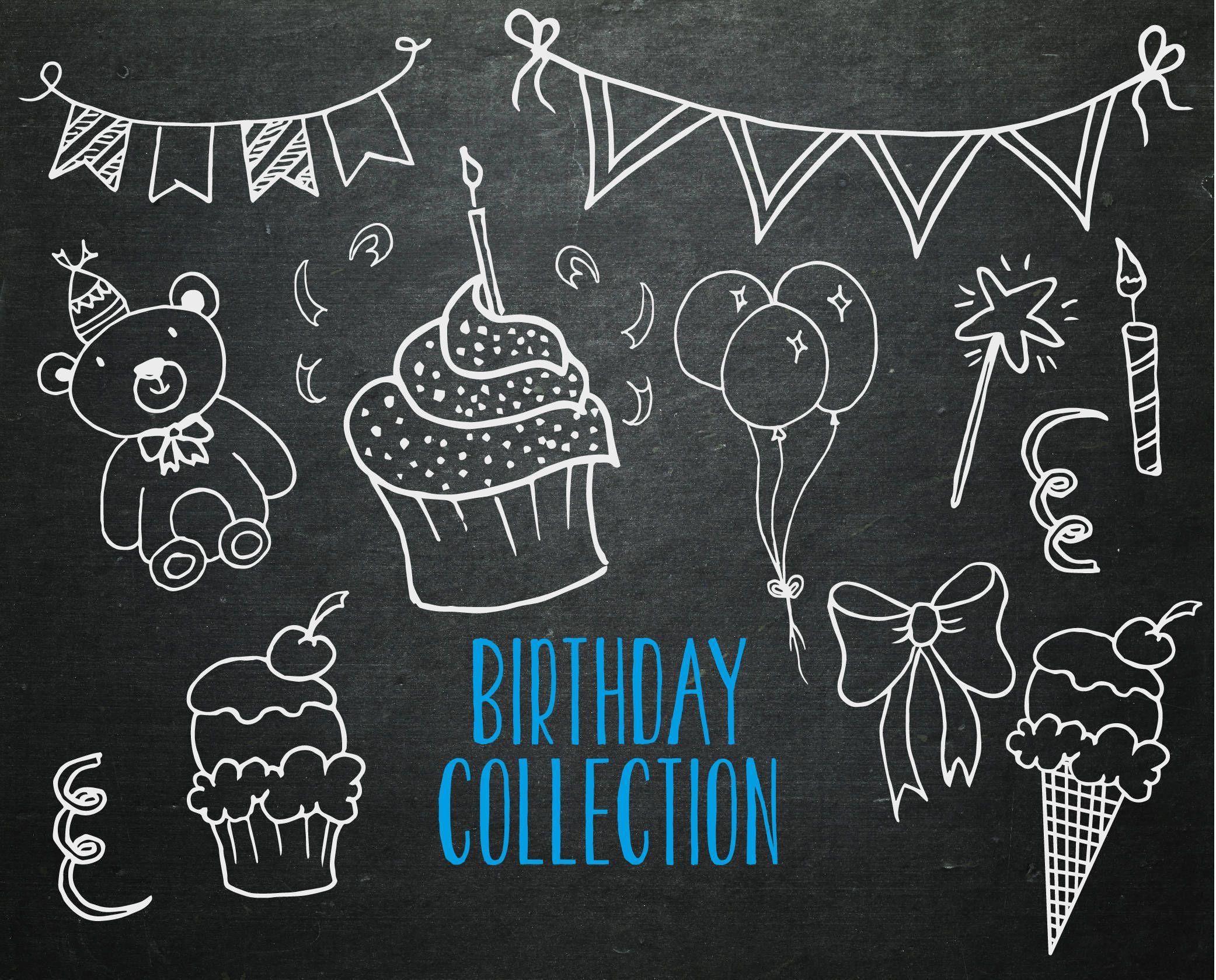 hand drawn birthday svg birthday clipart chalkboard elements