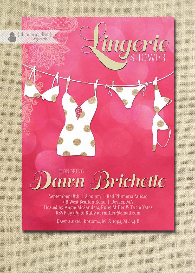 LINGERIE SHOWER INVITATION Lingerie Bridal Shower Invitation ...