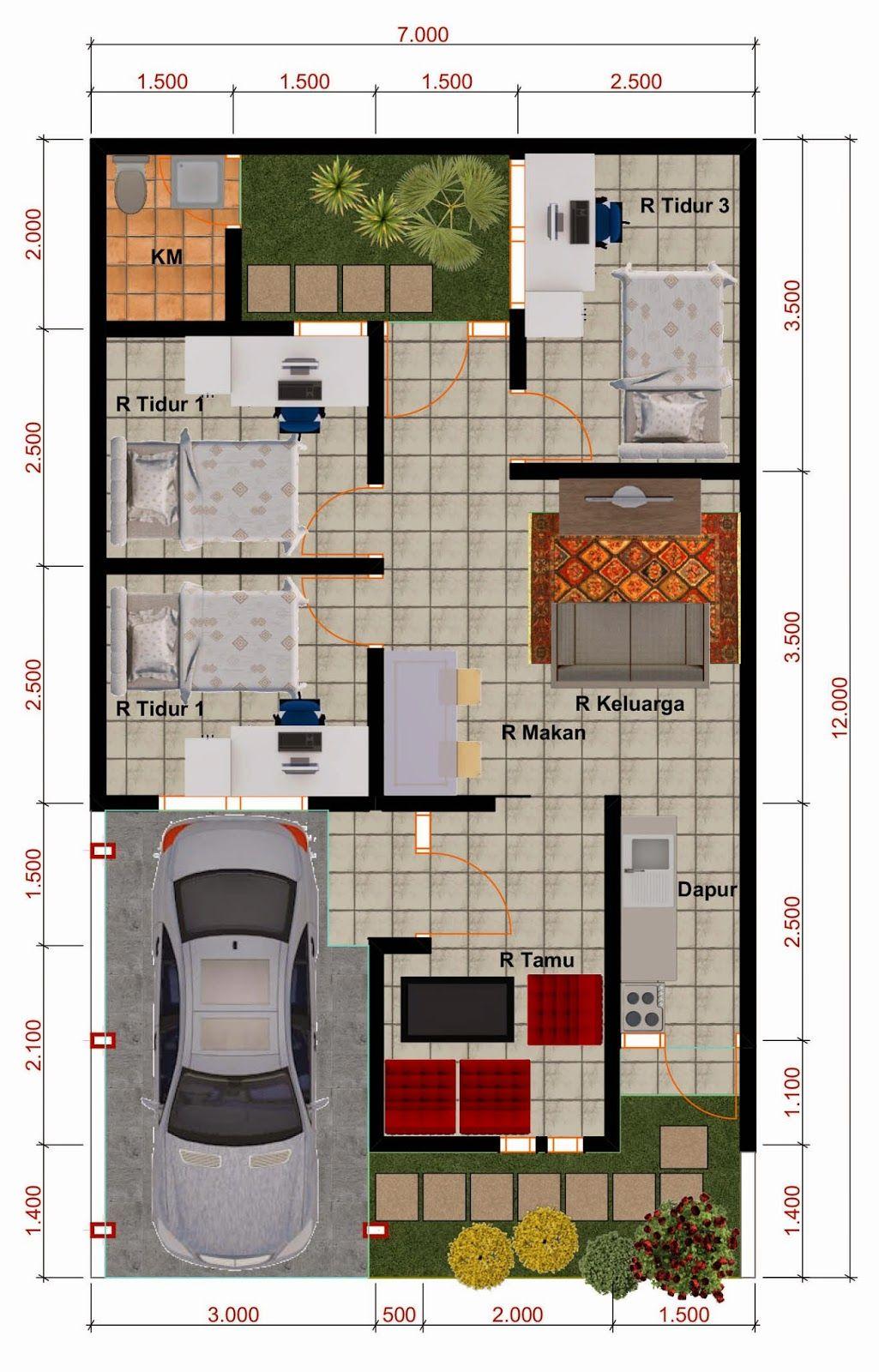 Desain Rumah Minimalis Perumahan Griya Mas Sidoarjo - Denah Type 55