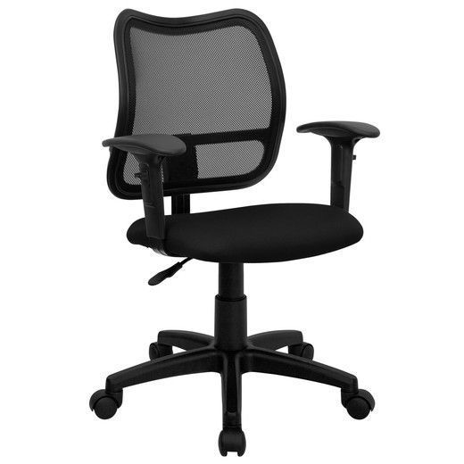 flash furniture mid back mesh task chair with black fabric seat and