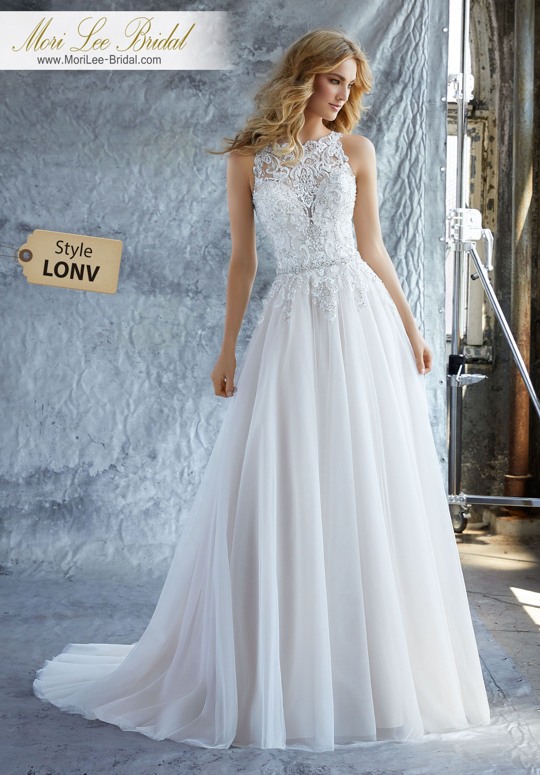Style LONV Katie Wedding Dress A Crystal Beaded Embroidered High ...