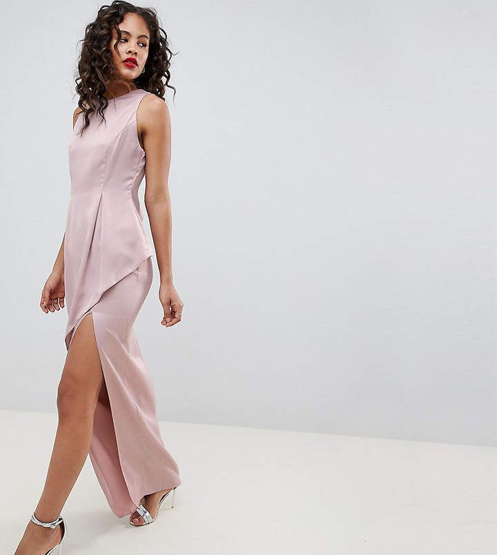 Asos Tall Asos Design Tall Satin Maxi Dress With Asymmetric Layered Skirt S Izobrazheniyami Platya