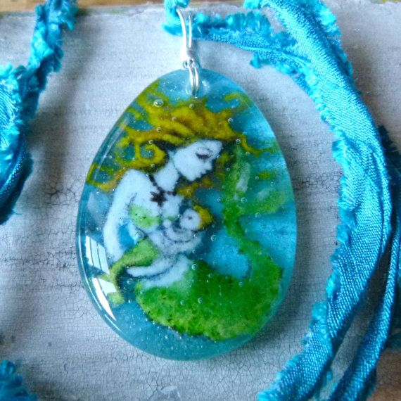 Mother Mermaid and Baby necklace  - fused glass