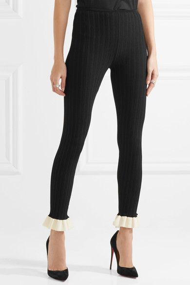 d9b3a9e4e95e0 Esteban Cortazar - Ruffled Cotton-trimmed Ribbed Stretch-knit Leggings -  Black