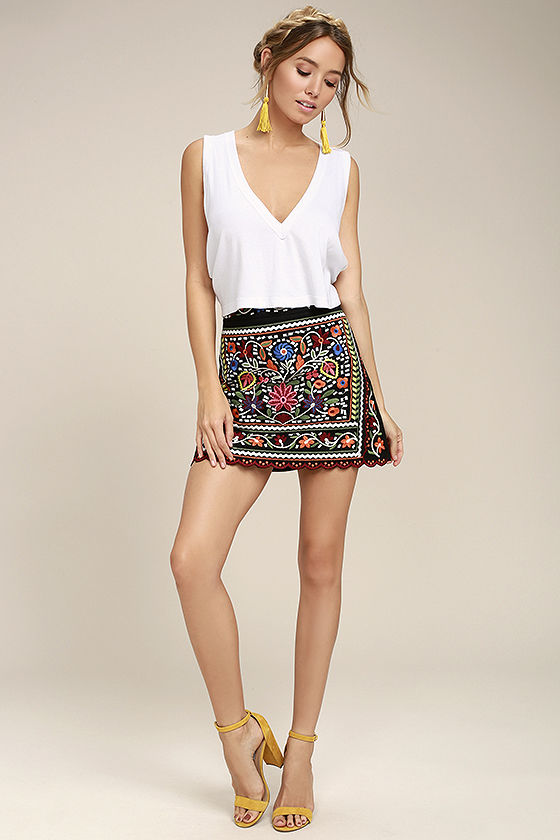 a52cad56b95c It's always a fiesta in the Don't Stop the Party Black Embroidered Mini  Skirt
