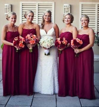 Elegant Maroon Bridesmaid Dresses