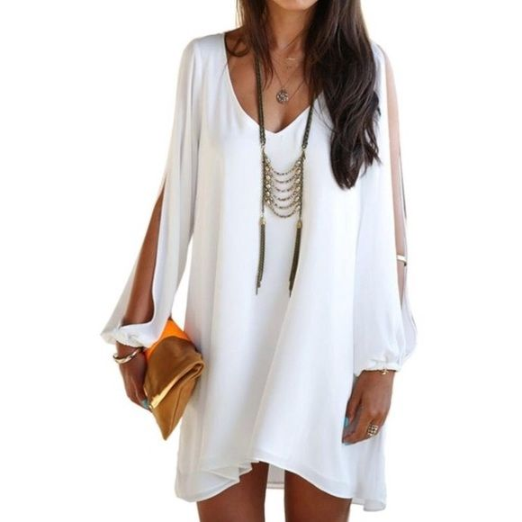 Choies White Shift Dress Brand new, never worn chiffon shift dress with slip sleeves, runs large Dresses Midi