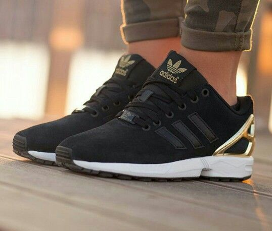 Adidas ZX flux black gold | Adidas zx flux black, Sneakers ...
