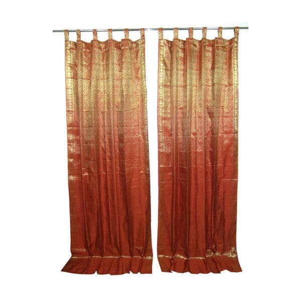 Mogulinterior Indian Sari Curtain Rust Brown Golden Silk Sari Drapes 65 Liked On Polyvore Featuring Home Home D With Images Window Drapes Indian Curtains Curtains