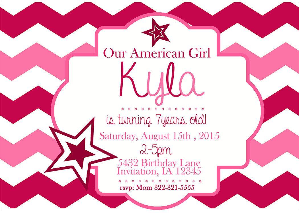 American Girl Birthday Invitation Printable by LanaRaeDesignz on ...