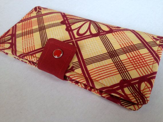 $30.00 Bifold Wallet with Pearl Snaps and Zipper Pocket Plaid Flowers Maroon Red Yellow