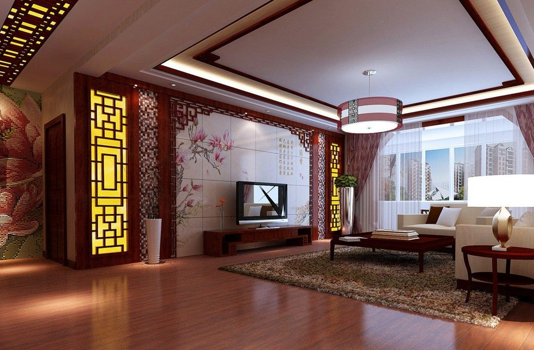 Living Room Design With Chinese Style Carpet Download 3d House