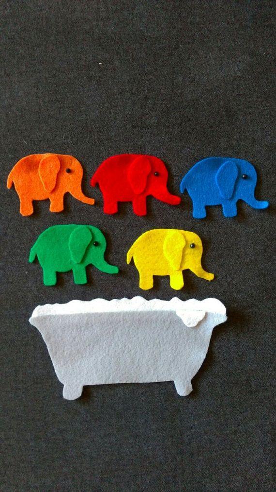 5 Elephants Felt Set
