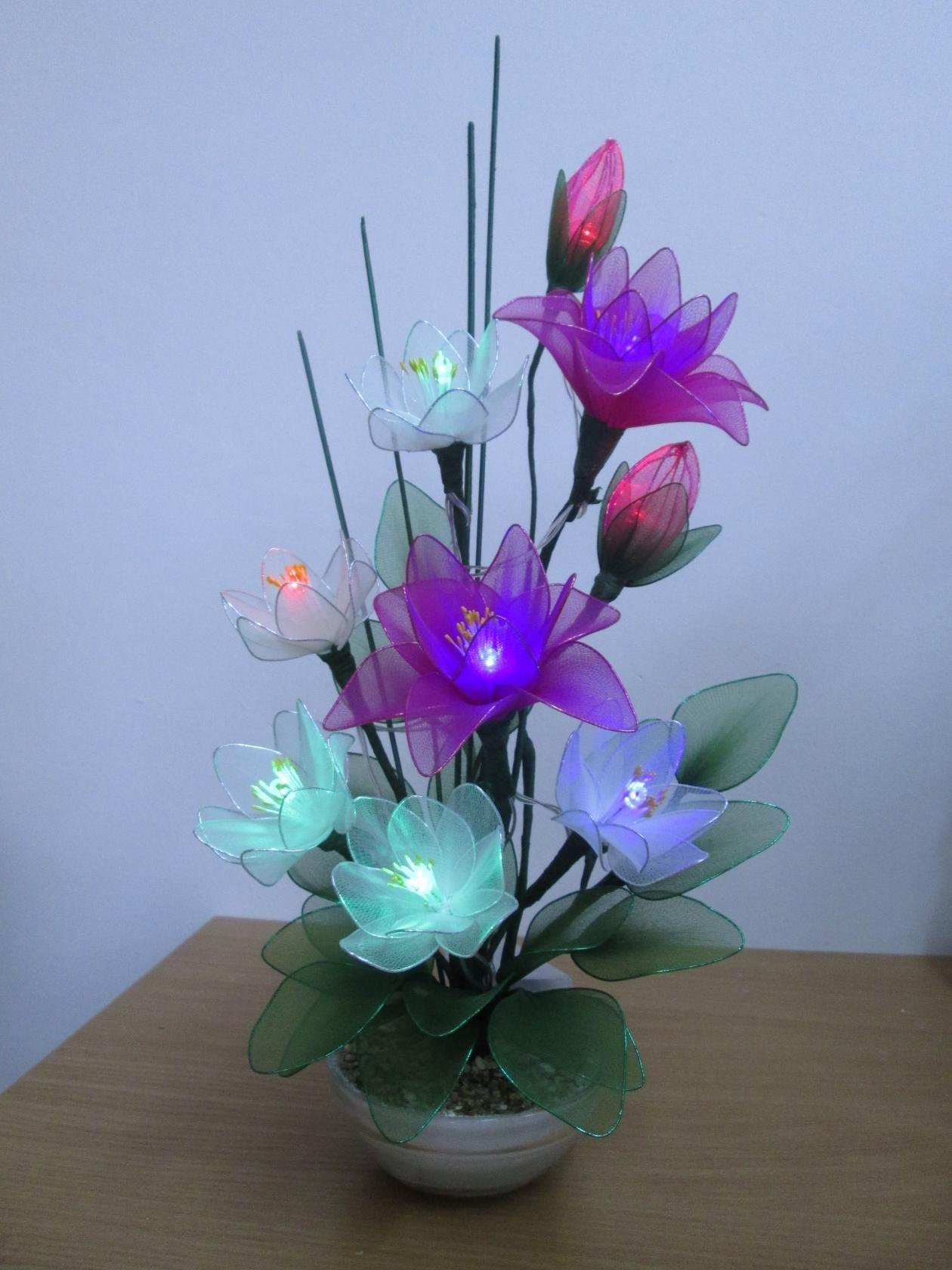 Nylon Flowers Satin Plastic Bottle Bottles Flower Making Handmade Creative Crafts Arrangements Craft Projects