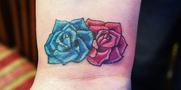 9dd39f425 Red and blue roses wrist tattoo... | Cool Ink | Wrist tattoos ...